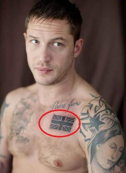 татуировка Британский флаг у тома харди